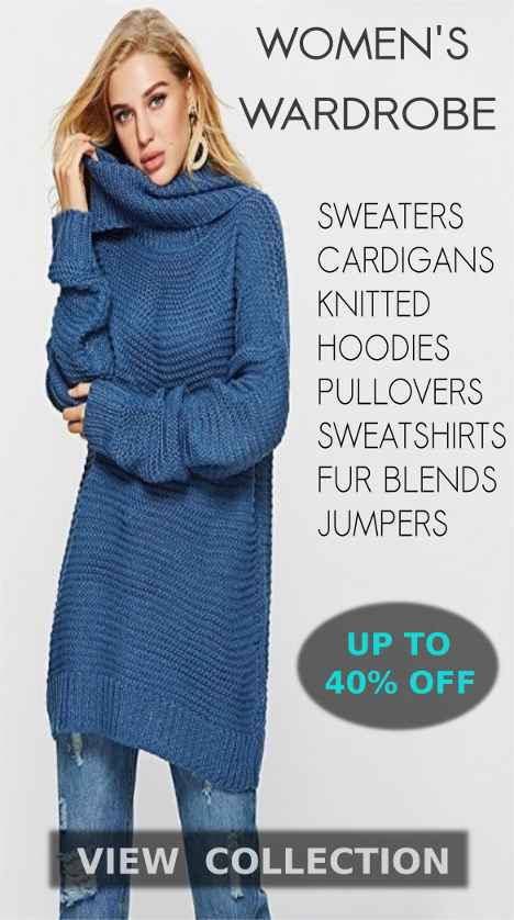 Latest Collection Of High Quality Sweaters, Knitted Cardigans, Pullovers, Sweatshirts, Hoodies, Warm Clothing, Jackets, Fur Coats, Jumpers, Warm Tops And Fall Winter Blouses For Women At Big Winter Deals And Discounts Of Up To 30% Off On Shopperwear Fashion