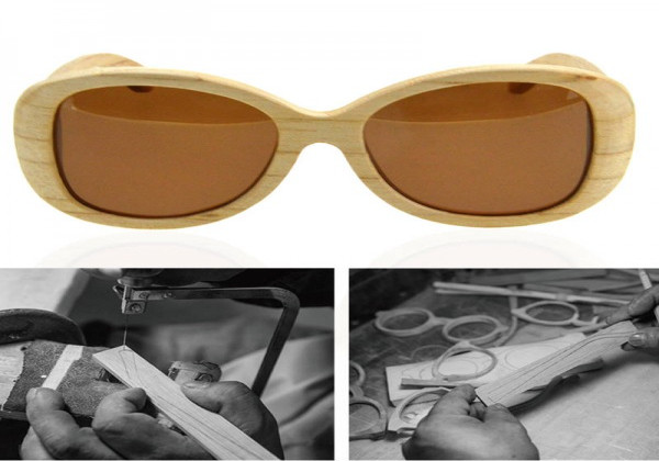 Beach Style Wooden Sunglasses Bamboo Stylish Oval Eyeglasses For Men And Women