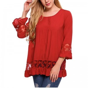 2018 Autumn Blouses For Women Speaker Sleeve Lace Tops Funny T Shirt Quarter Sleeve Short Camiseta