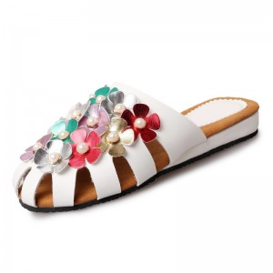 2018 Fashion Spring Flats Woman Shoes Round Toe Slingbacks Flower Decoration With Women Shoes Size 36 40