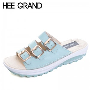 2018 New Slippers Summer Split Leather Shoes Woman Buckle Platform Wedges Casual Style Creepers Slides