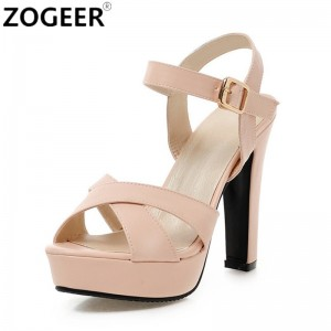2018 Summer Women Sandals Fashion High Heels Sandal Sexy Gladiator Platform Party Dress Shoes Woman Pink Black