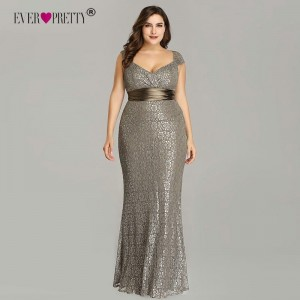 2019 Ever Pretty New Elegant Mermaid V Neck Sleeveless Lace Prom Dresses Plus Size Party Gown Robe De Soiree