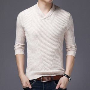 2019 Sweater For Mens Pullovers Slim Fit Jumpers Knitwear Warm Autumn Korean Style V Neck Casual Mens Clothes
