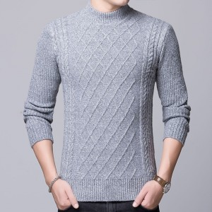 2019 Sweater Mens Pullovers Turtleneck Slim Fit Jumpers Knitted Thick Autumn Korean Style Casual Men Clothes