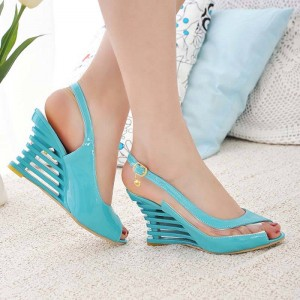 Airfour Wedges Heel Buckle Style Open Toe Transparent Summer Shoes For Women Thumbnail