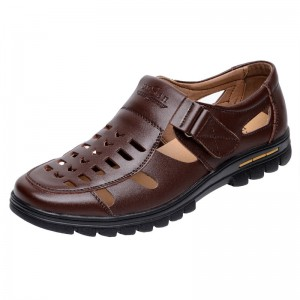 Akexiya Casual Summer Male Leather Sandals Hole Cut Out Shoes Man Leather Sandals  Cool Leather Shoes Slippers