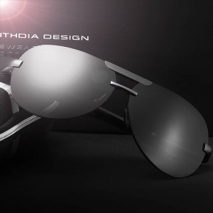 Aluminium Magnesium Rimless Sunglasses Polarized UV400 Mens Eye Accessories Anti Glare Aviator Design