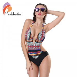 Andzhelika New One Piece Swimsuit Summer Bodysuit Brazilian Halter Swimwear Bathing Suit Vintage For Women Thumbnail