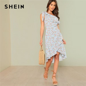 Asymmetric Shoulder Wrap Women Dress Ruffle Short Sleeve Knee Length Floral Dress 2018 Arrival Vacation Dress