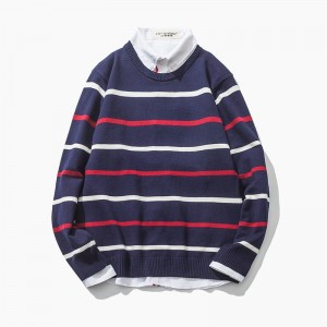 Autumn New Arrival Mens Sweater Fashion O Neck Stripe Color Block Decoration Sweater Men Casual Knitted Mens Pullovers
