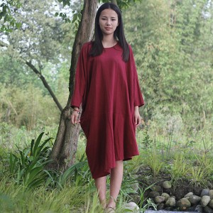 Autumn New Womens Dress Original Bat Sleeve Cotton Linen Dress Loose O Neck Casual Vintage Red White Dresses