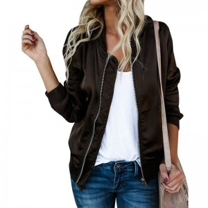 Autumn Plus Size Women Jacket  New Season Women Basic Jacket Long Sleeve Pockets Short Zips Cardigan Coat