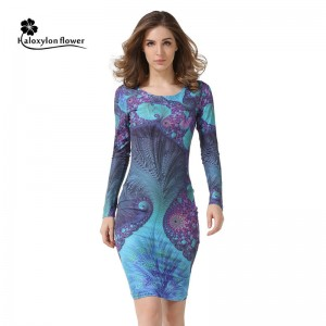 Autumn Robe Vintage Print Casual Round Neck Sexy Club Dress For Women Thumbnail