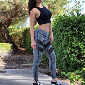 Autumn Spring mesh splice slim gray legging pants fashion women leggings splicing leggings Workout Fitness Pants