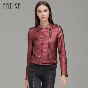 Autumn Winter Fashion Women Faux Leather Jackets and Coats Pockets Zipper Belted Motorcycle Jacket Outwear For Woman