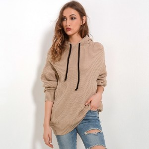 Autumn winter hooded sweater knitted clothing 2019 fashion drawstring slim long pullover female solid women sweaters