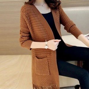 Autumn Winter Tassel Knitted Cardigan Sweater Coat One Size Long Sleeve Casual Party Sweaters Tops Long Outwear Coat