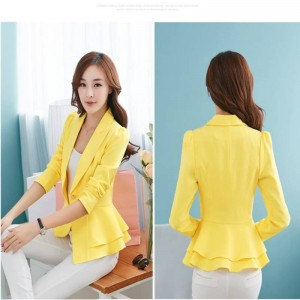 Autumn Women Blazers Plus Size Suit Slim Ruffles Single Button Coats For Women Thumbnail