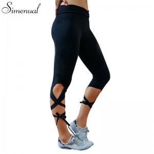 Bandage Fitness Women Leggings Hot Strappy Slim Leggings Solid Summer Beach Style Jeggings Sporty Style Thumbnail