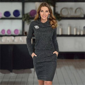 Beforw Autumn Winter Solid Color Sexy Casual Dress Long Sleeve Pencil Dress Women Thumbnail