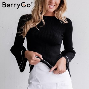 BerryGo Elegant knitted pullover sweater Women warm gray long sleeve jumper Autumn winter black knitting o neck
