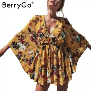 BerryGo flower Print batwing sleeve summer dress women Sexy v neck high waist beach dress bow short dresses streetwear