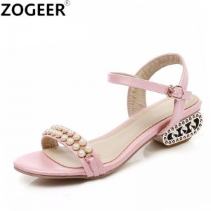 Big Size Hot 2018 Summer Women Sandals Luxury String Bead Shoes Woman Casual Low Heels Party Chunky Heels Sandals