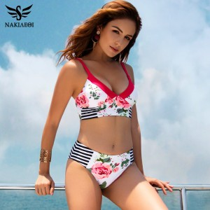 Bikini Sexy Swimwear Women Mid Waist Print Flower Swimsuit Female Vintage Bikinis Set Beach Swimming Suit Wear