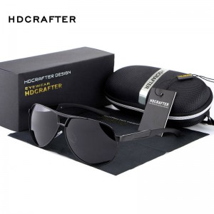 Black Aviator Sunglasses Vintage Pilot Dark Mirror Black Frame Hot Fashion Eye Goggles For Men With Box