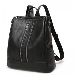 Black Leather Backpack New Arrival Women Bags Simple Casual School College Backpack Top Quality Leather Handbags