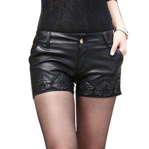 Black Ploy Urethane Leather Sexy Mini Shorts Embroidery Lace Latest For Women Thumbnail