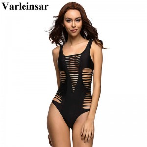 Black Red Sexy Laser Cut One Piece Swimwear Swimsuit Bathing Suit For Women Beach Suit Bodysuit For Women Thumbnail