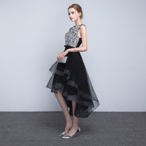 Black Short Front Long Back Prom Dresses Princess vestido de festa Elegant Sequined Evening Party  Ladies Formal Dress