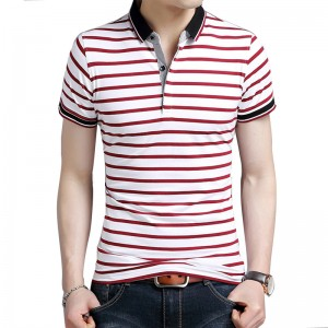 Body Repair Striped Turn Down Collar Striped Tee Shirts Short Sleeve T Shirt Men Pure Cotton Thin Section T Shirt