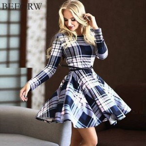 Boforw Autumn Winter Fashion Lattice Long Sleeve Dress Casual Free Belt For Women Thumbnail