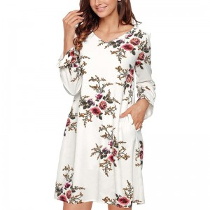 Boho Floral Print Chiffon Dress Autumn Casual Cocktail Long Sleeve V Neck Loose Vestidos Backless Knee Length Dress