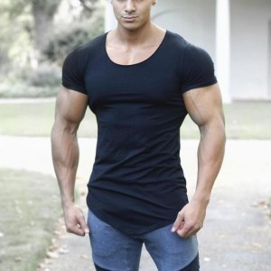 Brand Solid Clothing Gyms t shirt Mens Fitness Tight t shirt Cotton crossfit t shirt men Bodybuilding Summer top