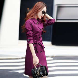 British Style Woman Medium Long Trench Spring Autumn New Double Breasted Plus Size Slim Trench Coat With Belt