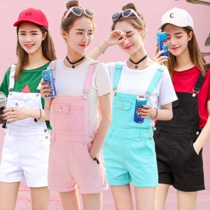 Candy Color Denim Shorts Women Rompers Elegant Jumpsuits Summer Style New Arrival Thumbnail