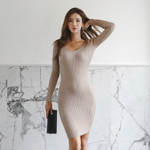 Casual Knitted Sweater Dress V Neck Full Sleeve Women Skinny Vestidos Female Bodycon Knitting Dress