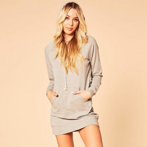 Casual Long Sleeve Hoodies Sweatshirt Dress Women With Pocket Solid Color Bodycon Hooded Pullover Slim Mini Dress
