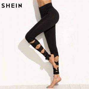 Casual Trousers for Ladies New Arrival Womens High Waist Wide Waistband Skinny Leggings Crisscross Tie Up Leggings
