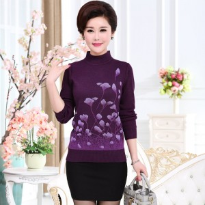 Christmas Sweater Jumper Women Knitwear Casual Slim Pullover Turtleneck Print Plus Size Mother Long Sleeve Knitted Tops