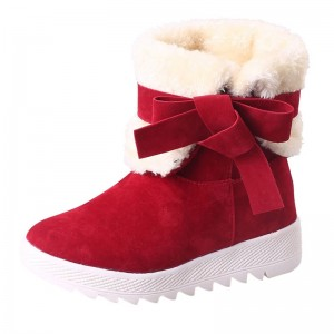 Classic Women Winter Boots Suede Ankle Snow Boots Female Warm Bow Knot High Quality Warm Ankle Boots Botas Mujer