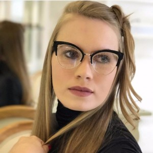 Clear Cat Eye Sunglasses Luxury Transparent Spectacles Luxury Clear Leans Half Frame Women Eyeglasses