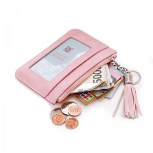 Coin Purse Ladies Pu Leather Tassel Metal Ring Clutch Wallets Women Keychain Thin Key Bag Card Holders Mini Pouch
