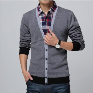 Collar Shirt Slim Fit Mens Autumn Winter Sweater Cardigan Thick Warm Social Business Dress For Males