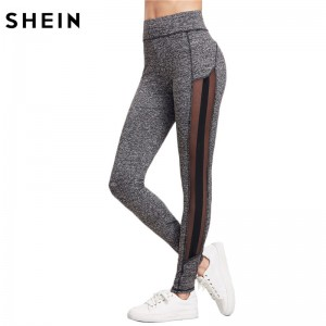 Color Block Fitness Leggings Workout Clothes for Women Grey Women Skinny Pants Marled Knit Mesh Panel Leggings