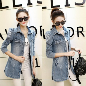 Denim Jacket Women Fashion New Back Printed Basic Coats Long Vintage Jean Jacket Casual Slim Four Pockets Outwear
